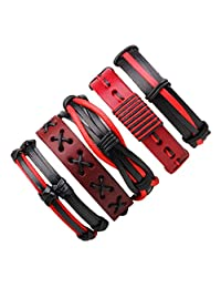 Wrap Bracelets,Fashion Leather Braided Handmade Rope Bracelets and Bangles Casual Gift for Men Women (Red)