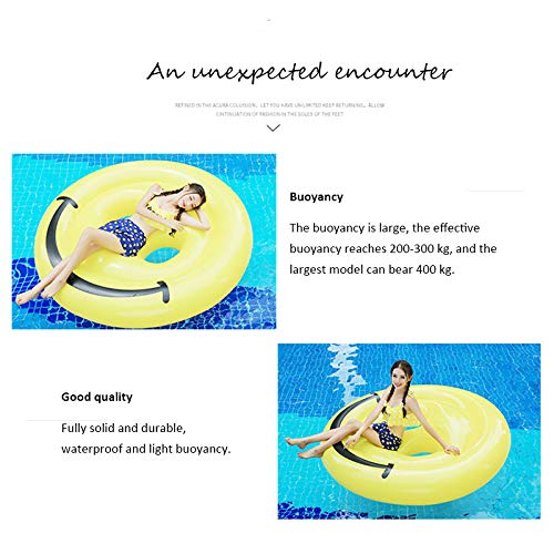 Inflatable Emoji Smiley Face Floating Row Adults Kids Summer Beach Toy Swimming Pool Party Lounge Round Raft-Yellow by WYL (Image #3)