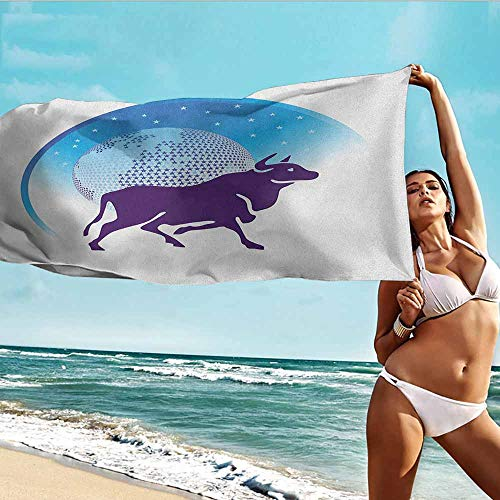 TT.HOME Travel Bath Towel,Zodiac Taurus Earth Globe with Stars and Dark Bull Animal Universe Future,Super Soft Highly Absorbent,W40x10L, Dark Purple Blue and - Towel Polished Globe Bar