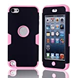 Lantier For iPod Touch 5 Case,Hybrid 3 Layers Hard Cover with Silicone Shell Inside Case Plastic TUFF Camo Triple Quakeproof Drop Resistance Protective for iPod Touch 5 5th Generation with Screen Protector and Stylus Pen K-Black/Pink