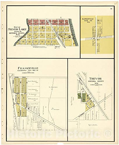 (Historic 1924 Map | Plat Book of Racine and Kenosha Counties, Wisconsin | Map of Silver Lake; Franksville; Trevor 36in x 44in)