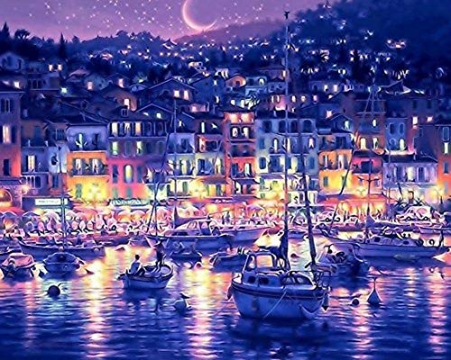 YEESAM ART DIY Paint by Numbers for Adults Beginner Kids, Harbor Seaport Bay Night 16x20 inch Linen Canvas Acrylic Stress Less Number Painting Gifts