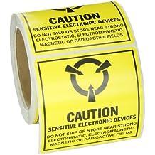 """SL-6 a prueba de manipulaciones de la conciencia de etiquetas de papel estáticos, Negro en amarillo, 4.000 """"x 4.000"""" (101.600 x 101.600 Mm Mm), la leyenda """"Precaución dispositivos sensibles electrónicos (MIL Std. 129J Símbolo)"""" (250 etiquetas por rollo, 1 rollo por paquete)"""
