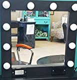 Black 24 x 24 Lighted Hollywood style Glamour vanity mirror
