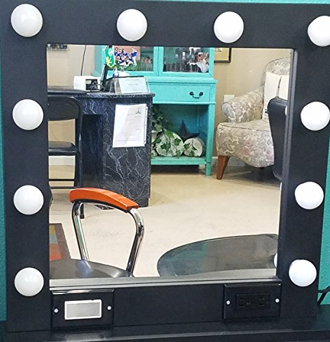 Black 24 x 24 Lighted Hollywood style Glamour vanity mirror by Glamour Mirrors
