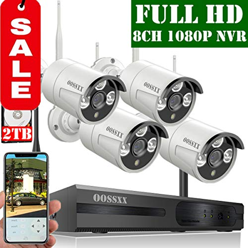 【2019 Update】 OOSSXX 8-Channel HD 1080P Wireless Security Camera System,4Pcs 1080P 2.0 Megapixel Wireless Indoor/Outdoor IR Bullet IP Cameras,P2P,App, HDMI Cord & 2TB HDD -