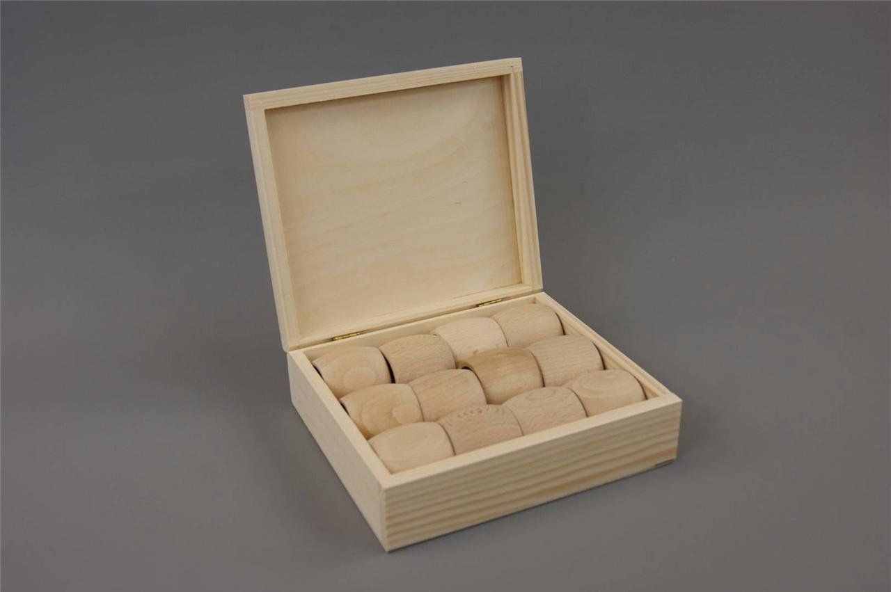 (PD33) Plain Wood Wooden Box with 12 Napkin Rings (4.9cm) - Box 169x142x55mm Decocraft