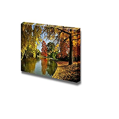 Beautiful Scenery Landscape View of a Quiet Place by The Lake in a Park in Autumn - Canvas Art Wall Art - 16