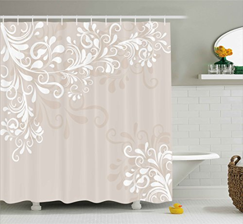 Oriental Decor Shower Curtain by Ambesonne, Floral Ivy Swirls Leaves Abstract Modern Frame like Artwork Image, Fabric Bathroom Decor Set with Hooks, 70 Inches, Cream Tan and White
