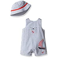 Little Me Baby Boys' Woven Sunsuit with Bucket Hat, Navy Stripe, 9 Months