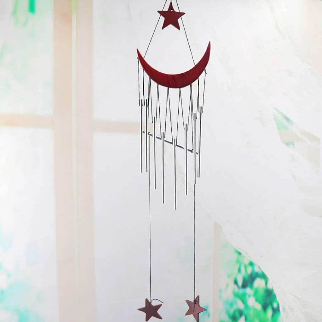 Red Gaddrt  Star Crescent Rust-proof Wind Chime Campanula Hanging Metal Crafts Home Room Decoration Metal Pendant with 8 Tubes