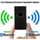 Leoie 2-in-1 Bluetooth V4 Transmitter Receiver, Wireless A2DP 3.5mm Stereo Audio Music Adapter for TV and Home Stereo System