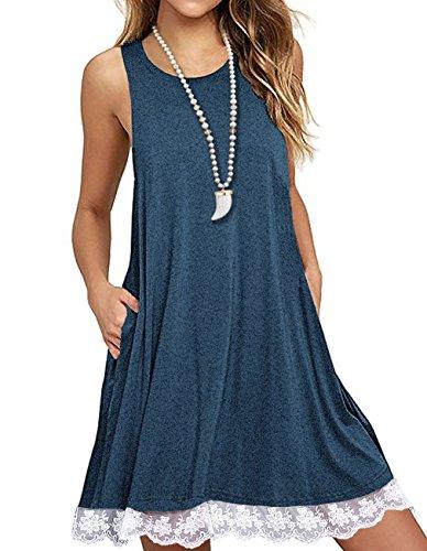 Sanifer Women Summer Tunic Dress Lace Tank Dress Sleeveless T-Shirt Dress With Pockets (X-Large, (Lightweight Cotton Dress)