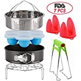 Pressure Cooker Accessories Set Compatible with Instant Pot - Fits 5,6,8Qt,5-Pcs with Steamer Basket/Egg Steamer Rack/Egg Bites Molds/Non-stick Springform Pan/1 Bowl Clip/2 Silicon Milts