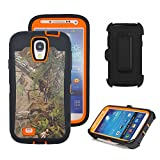 Galaxy S4 Holster Case, Harsel Defender Series Heavy Duty Tree Camo Full Body Shockproof Hybrid Protective Military with Belt Clip Built-in Screen Protector Case Cover for Galaxy S4 - Forest Orange