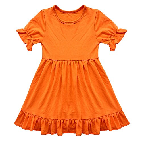 Coralup Baby & Little Girls Ruffles Cotton Dresses Orange(XL,4-5Y)]()