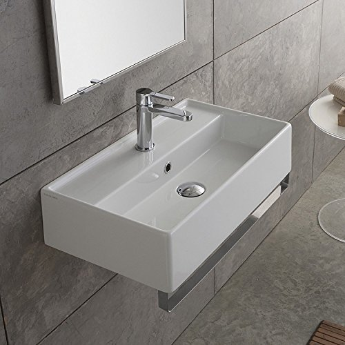 Scarabeo 5002-TB-One Hole Teorema Rectangular Wall Mounted Ceramic Sink with Polished Chrome Towel Bar, White - Polished Ceramic Finish