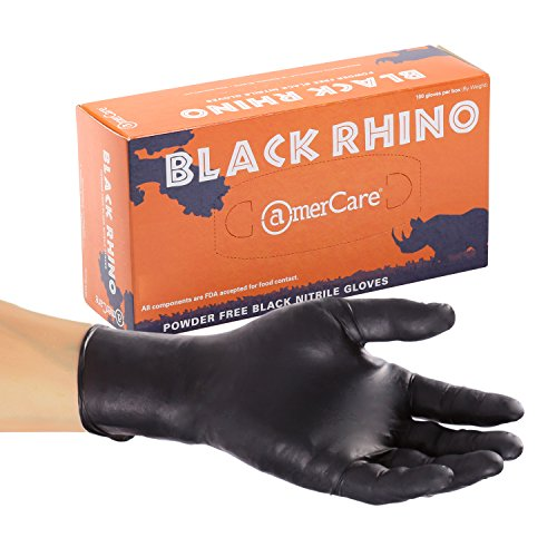 AmerCare Black Rhino Powder Free Nitrile Gloves, Large, Case of 1000 by Amercare