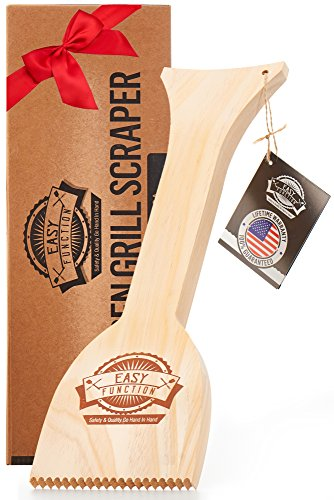 Easy Function Latest Bbq Grill Scraper Tool - Safe and Effective Bristle Free Grill Cleaning Solution, Fine Natural Pine Wood Scraper - The Best Barbecue Bristle Grill Brush Replacement (Grill Brush Wooden)