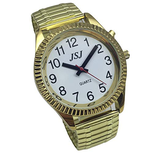 English Talking Watch with Alarm, Talking Date and time, White Dial, Expanding Bracelet