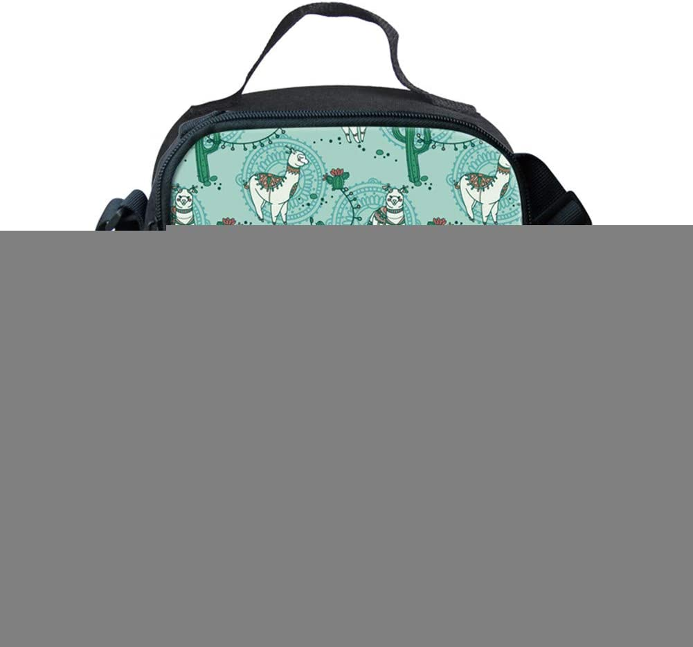 BIGCARJOB Llama Print Lunch Bag Insulated Cooler Lunch Box College Student School Food Storage Tote