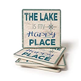 CoasterStone Lake is My Happy Place Stone Coaster, 4.25 Inches Wide, Set of Four