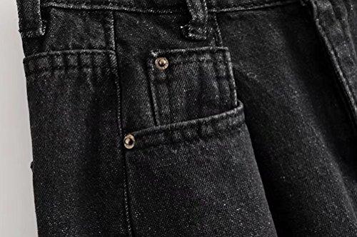 Chic Pantalon Unie Haute Taille Plis Grande Noir Taille Couleur WanYang Boyfriend Femme Palazzo Jean Style C0xx7qwP