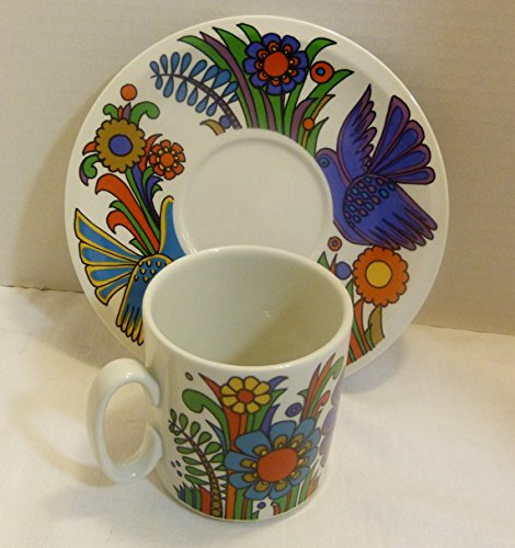 (Villeroy and Boch Acapulco Made in Luxembourg Vintage Coffee Mug (3 Inch) and Saucer Set)