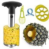 JZCreater Fruit Slicer Peeler Set Of 4-1 Stainless Steel Pineapple Corer,Plastic Orange Peeler & Avocado Cutter Knife - Handheld Kitchen Tools,BLACK