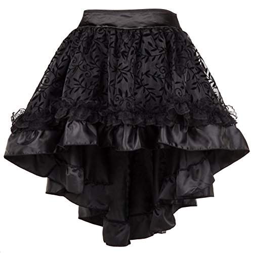 Bslingerie Womens Steampunk Asymmetrical Multicolored Skirt (Black, S)]()