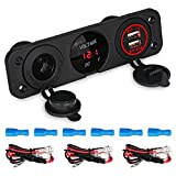 WATERWICH Triple Marine Toggle Rocker Switch Panel waterproof ignition rocker switch with Digital Voltmeter 3.1A Dual USB Charger Cigarette Socket For RV Car Boat Trailer Truck Yacht SUV (3 hole Red)