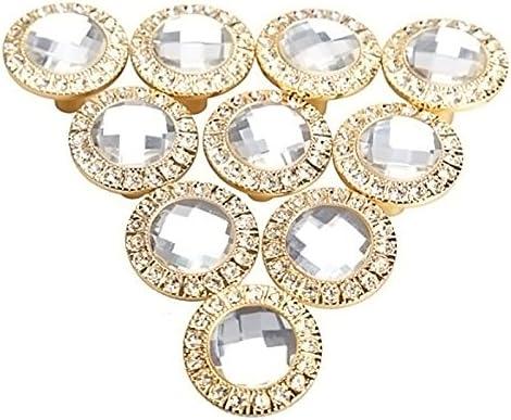 Gosear - 10 Piezas Manillones Pomos y Tiradores/Perillas para Armario de Cocina Gabinete de Cajón de Puerta Manija(Redondo Diamantes de Cristal Brillante 30mm,Dorado)