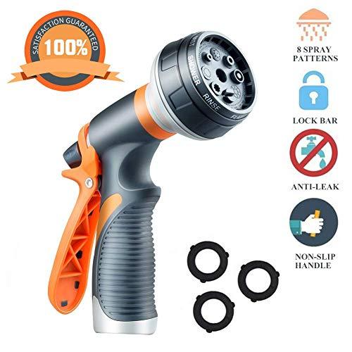 Garden Hose Nozzle Heavy Duty Metal Spray Gun 8 Adjustable Watering Patterns for Watering Plants Washing Cars and Showering Pets Leak Free Guarantee (Orange)