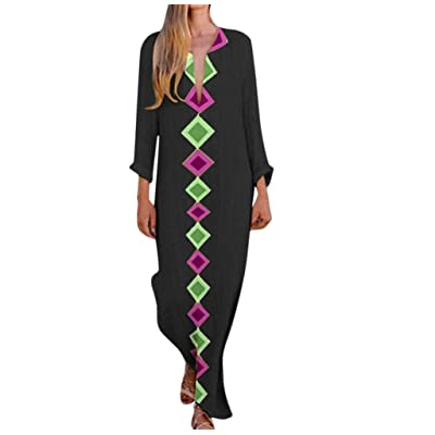 Kaftan Dresses for Women Boho Loose Tropical Oversized Sundress Pleat Tunic V Neck Long Maxi Dress JHKUNO: Clothing