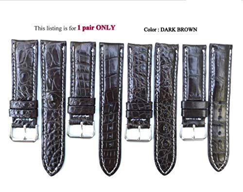 (22mm Genuine CROCODILE/ALLIGATOR Skin Leather Watch Strap Band for men Handmade (DARK Brown Leather/WHITE Stitching))