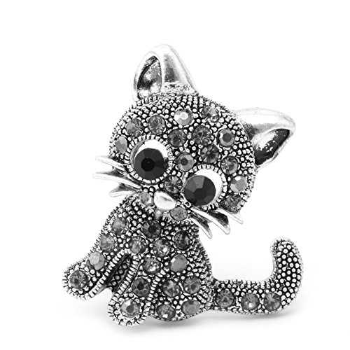 MEXUD Women Girl Rhinestone Brooch Pin Jewelry With Vintage Cute Little Cat For Hat Suit
