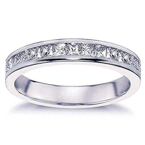 VIP Jewelry Art 0.70 CT Princess Cut Diamond Wedding Band in 18K White Gold Channel Setting - Size 12
