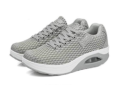57dc21fe4917 COLOV Women Work Out Lace Up Sneakers Shape UPS Platform Walking Fitness  Shoes(Grey 41