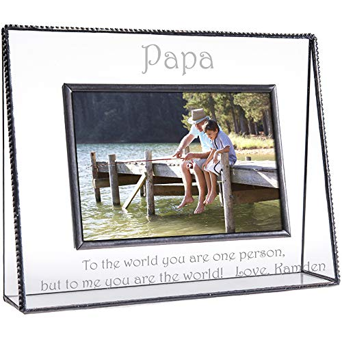 J Devlin Pic 319-46H EP601 Personalized Picture Frame for Papa Tabletop 4 x 6 Horizontal Photo Frame Engraved Glass Keepsake Gift Grandfather Father