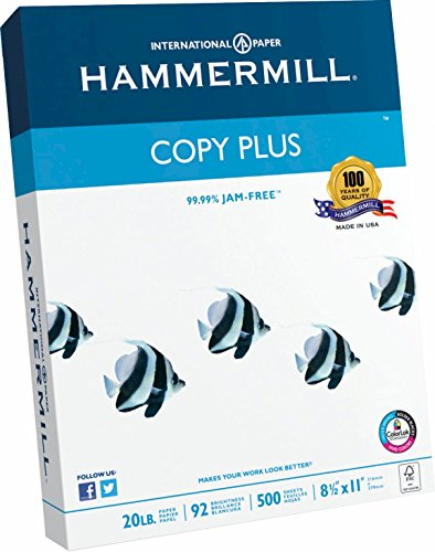 Hammermill Paper, Copy Plus Paper, 8.5 x 11 Paper, Letter Size, 20lb Paper, 92 Bright, 1 Ream / 500 Sheets...