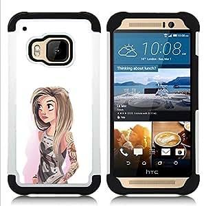 """HTC One M9 /M9s / One Hima - 3 en 1 impreso colorido de Altas Prestaciones PC Funda chaqueta Negro cubierta gel silicona suave (Chica Acuarela Hipster Blanco Moda"""")"""