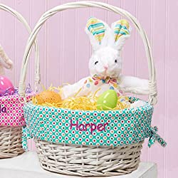 Personalized Colorful Dots Easter Basket (Teal)