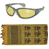 Tactical Yellow/Skulls Shemagh + ACU Digital Amber Lens UV400 Sunglasses