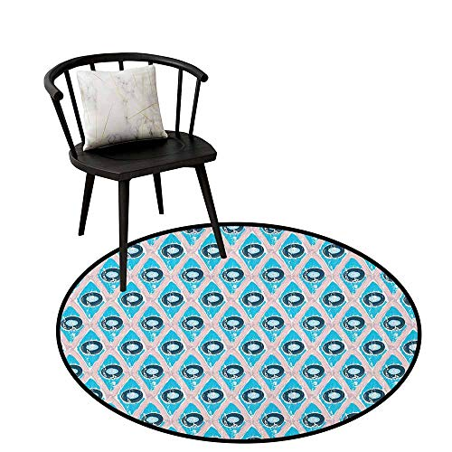 Home Decor Circle Area Rug Abstract,Brushstroke Diamond Grid with Circle Disc Shapes Grunge Hipster Art, Blush Blue and Night Blue,Rug Accent Mat for Livingroom Diningroom Bedroom 32