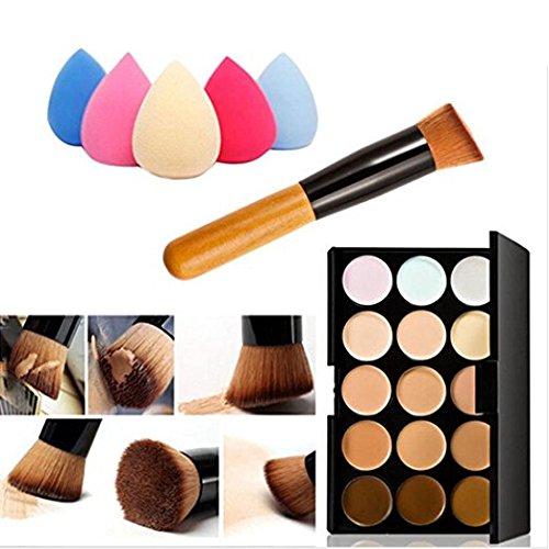 LandFox 15 Colors Makeup Concealer Contour Palette + Water Sponge Puff + Makeup Brush