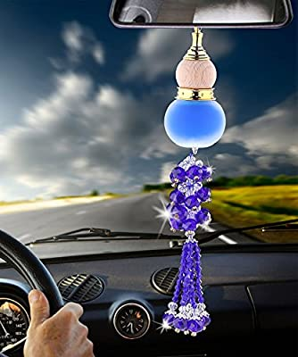 Angela_max Car Rearview Mirror Hanging Ornament Home Interior Decor Crystal Beads Glass Gourd Perfume Bottle Lucky Charm Pendant Hangings