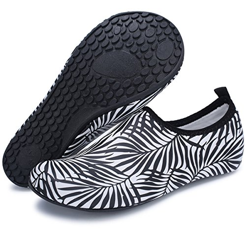 Barerun Barefoot Quick-Dry Water Sports Shoes Aqua Socks for Swim Beach Pool Surf Yoga for Women Men Black Leaf
