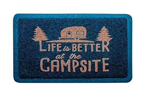 "Camco Life Is Better at The Campsite Outdoor & Indoor Welcome Mat - Weather and Mildew Resistant Doormat | Traps Dirt and Liquid | Spongey Comfortable Feel | Measures 26 ½ "" x 15"" - Blue (53201)"