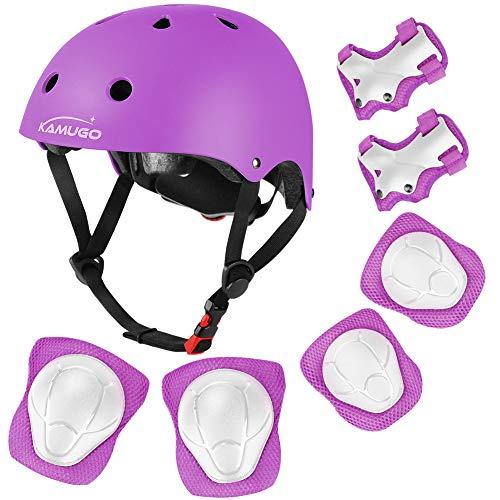 KAMUGO Kids Adjustable Helmet, with Sports Protective Gear Set Knee Elbow Wrist Pads for Toddler Age 3-8 Boys Girls, Bike Skateboard Hoverboard Scooter Rollerblading Helmet Set ...