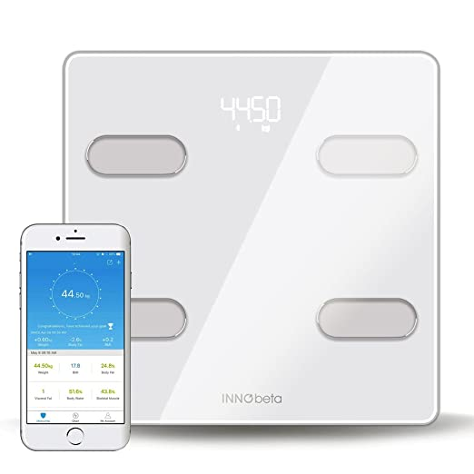 ... body composition analyzer, High Accuracy bathroom scale, 400 pounds capacity, APP support, Batteries Included-InnoBeta Fitfy: Health & Personal Care